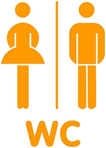 Samunshi® WC Tür Schild Türaufkleber Wandtattoo in 6 Größen und 19 Farben (14x20cm goldgelb)
