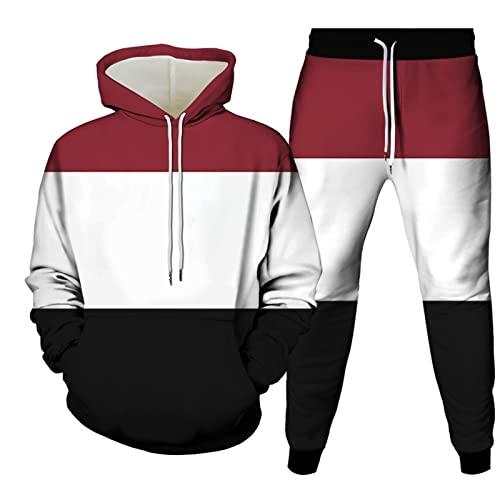 Pantalones De Chándal para Hombre + Sudadera De Manga Larga Hip Hop Casual Conjunto De Jersey Y Pantalón De 2 Piezas Otoño Invierno Personalizado Sudadera con Capucha De Ajuste Regular Blusa