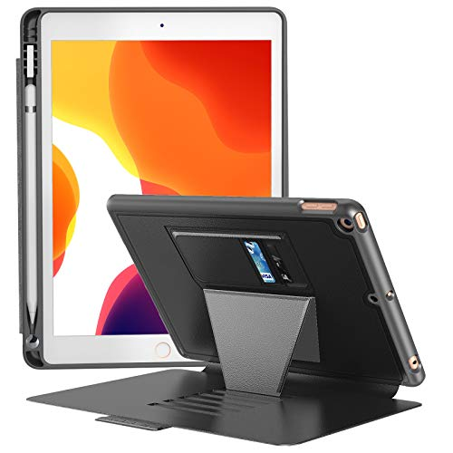 BLAVOR iPad Case for Apple iPad 10.2 Inch 2019 7th Generation, Full Body Protective & Shockproof Cover with Pencil Holder, Card Holder, 6 Magnetic Angles, Auto Wake/Sleep (Black)