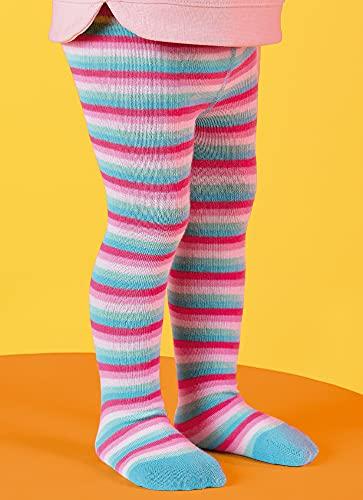 Meia calça grosssa infantil Puket listrada tamanho 1 a8 anos Cor:rosa;Tamanho: 6 a 12 meses