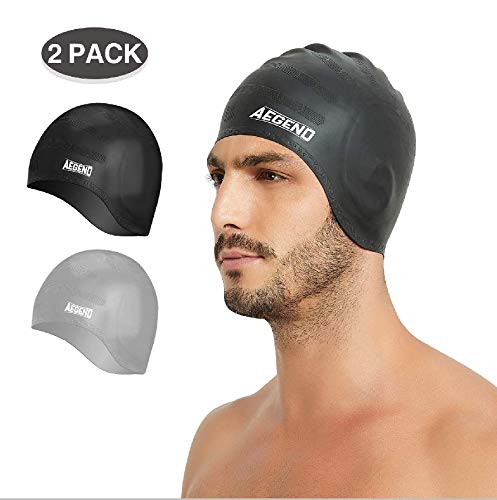 aegend Silicone Swim Cap 2 Pack, Durable Swimming Caps with Ear Protection for Adult Men Women Youth, Comfortable Fit for Long Hair & Short Hair, Easy to Put On and Off, Black Gray