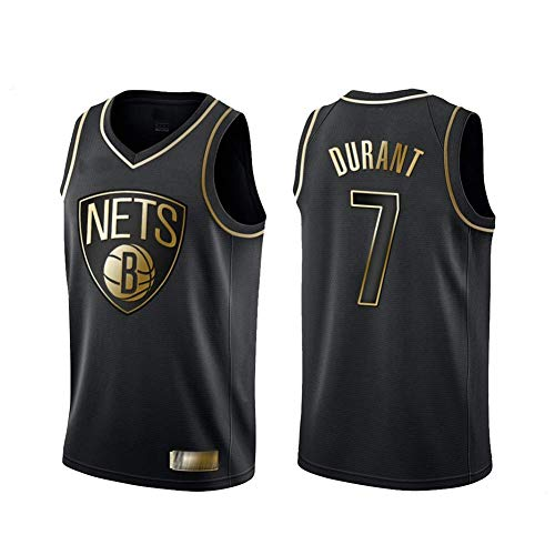 Jersey Di Basket Di Brooklyn Da Uomo NBA NBA # 7 Jersey Di Basket Durant Kevin, T-Shirt Senza Maniche in Edizione in Oro Nero, Tessuto Traspirante in Maglia, Comodo Da Indossare,XXL(185~190CM)