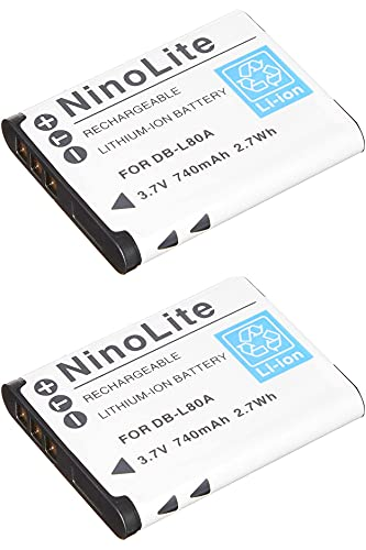NinoLite DB-L80 D-LI88 VW-VBX070 互換 バッテリー 2個セット サンヨー ペンタックス パナソニック 各メーカー共通 対応 dbl80x2_t.k.gai