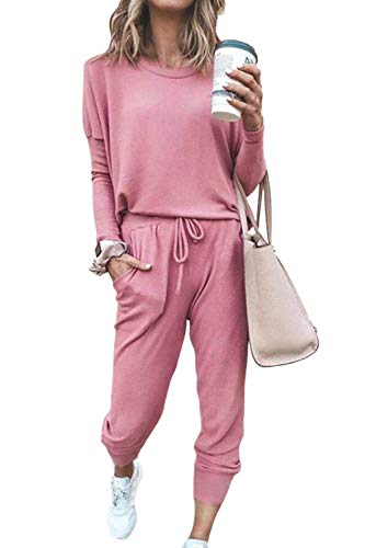 Fixmatti Women 2 Piece Casual Outfit Matching Long Pant Set Solid Sweatsuit Pink M