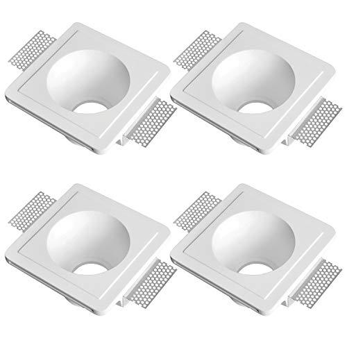 LED Einbaustrahler aus Gips LISA Weiss Inkl. 4 X IP20 Deckenstrahler Einbauleuchte Deckeneinbaustrahler Deckeneinbauleuchte Deckenspot, 4 X Fassung GU10 - ohne Leuchtmittel