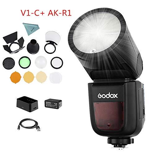 Godox V1-C Kamera Blizt Speedlight with AK-R1 Accessories Kit für Canon, 76Ws GN92 2.4G TTL