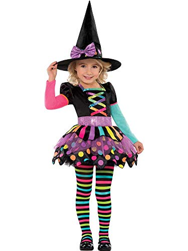 amscan New Disfraz de bruja para niñas, perfecto para fiestas y Halloween, multicolor