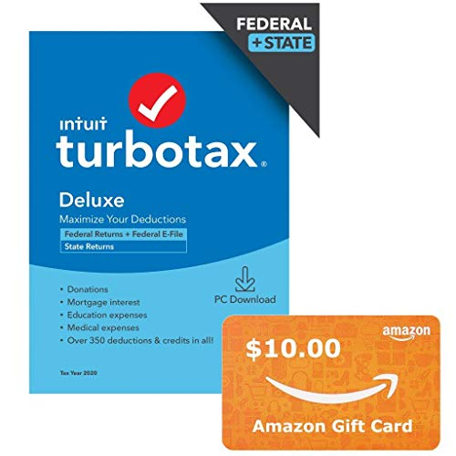 TurboTax Deluxe 2020 + $10 Amazon Gift Card bundle, Desktop Tax Software, Federal and State Returns + Federal E-file (State E-file Additional) [Amazon Exclusive] [PC Download]