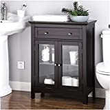 Glitzhome Wooden Free Standing Storage Cabinet with Drawer and Glass Double Doors, Espresso
