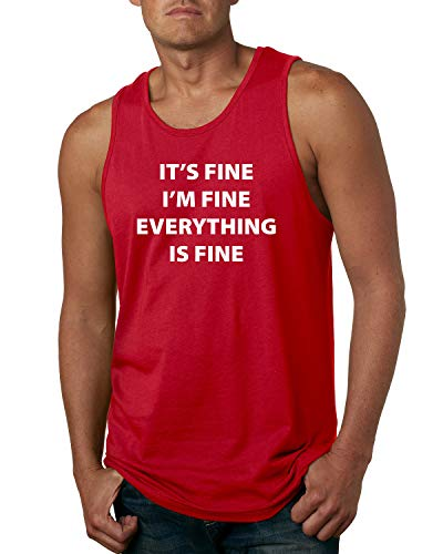 It's Fine I'm Fine Everything is Fine Quarantine Social Distance Anti-Flu Virus | Mens Pop Culture Graphic Tank Top, Red, Large