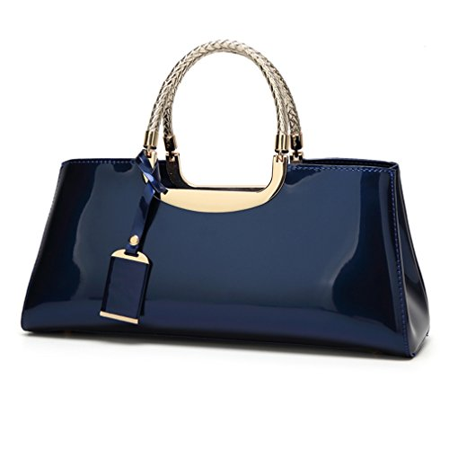 Glossy Faux Patent Leather Structured Shoulder Handbag Women Evening Party Satchel (Navy)