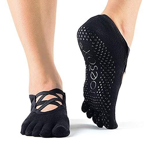 Toesox Full Toe Elle Yoga- und Pilates-Antirutschsocken, Schwarz, Größe S