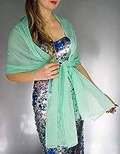 Stole donna chiffon verde turchese scialli vestito da sposa nuziale poncho bronzo