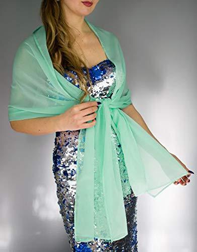 Chal chiffon color verde turquesa menta claro novia boda novia para vestido...