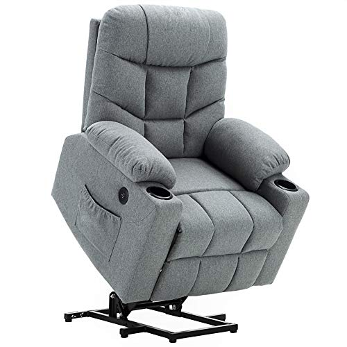 Mcombo Electric Power Lift Recliner Chair Sofa for Elderly, 3 Positions, 2 Side Pockets and Cup Holders, USB Ports, Fabric 7286 (Light Grey)