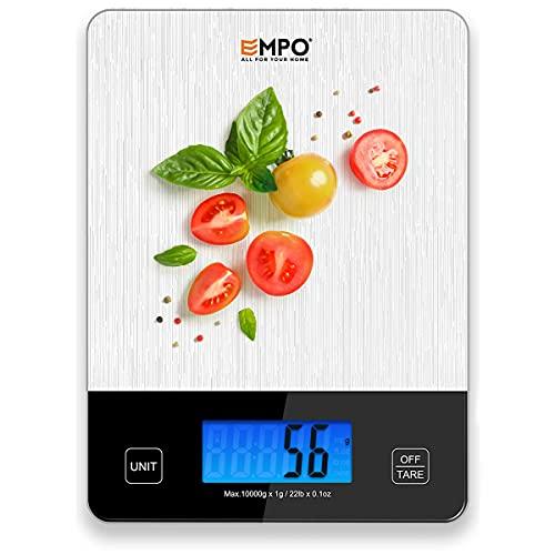 EMPO Balance de Cuisine Numérique Professionnelle - Balance Digitale à Haute précision avec Grand écran LCD et Tare, fonctionnalité pour la Cuisine, Les Vacances de Noël, Les Herbes, Le café