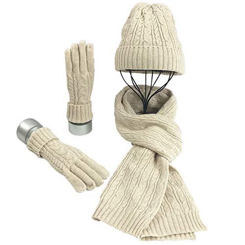 Warmiehomy Mütze, Schal & Handschuh-Sets für Frauen Damen Weiche Warme Gestrickt Langer Schal 3 in 2 Winter Dickes Strickset für Skifahren Draußen Einkaufen Angeln Cmping