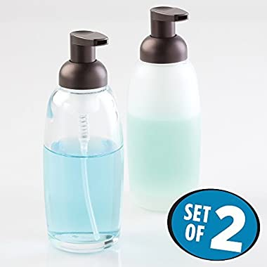 mDesign Glass Foaming Soap Dispenser Pump 2 pc Bathroom Accessory Set - Clear/Bronze, Frost/Bronze