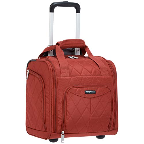 AmazonBasics Underseat Carry-On Rolling Travel Luggage Bag, 14 Inches, Red Quilted