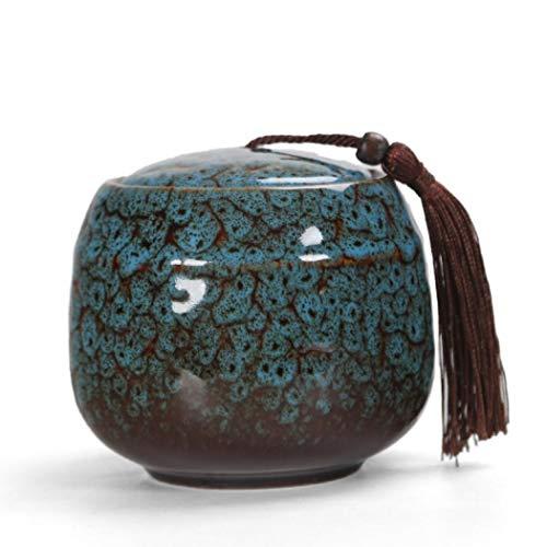 Teedose aus Keramik, Vintage-Stil, chinesischer Stil, Vorratsdosen für Tee, Dosen, traditionelle Teedose, versiegelter Deckel, für Zuhause, Küche, Esszimmer, Dekoration (blau)