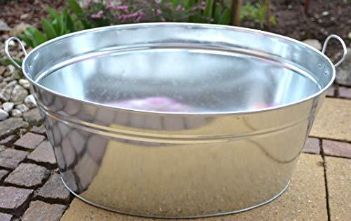 Maison en France Zinkwanne praktisch, stabil und wasserdicht, 64 cm - Zinkwanne für den Garten, auch als Kleiner Teich nutzbar