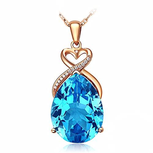 Lujo 5 quilates aguamarina cristal azul topacio piedras preciosas diamantes collares pendientes para mujeres 18 k oro rosa gargantilla cadena joyería