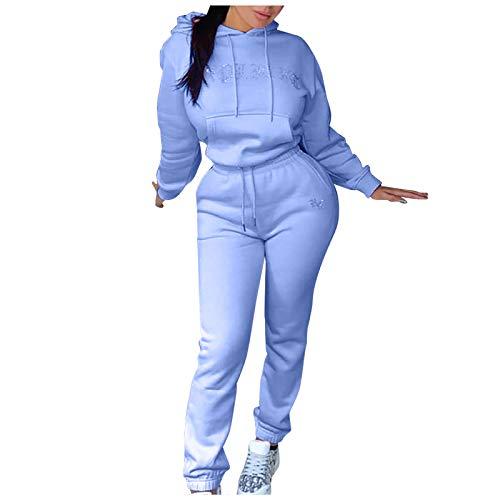 [60% Off] Damen Langarm Kapuzenpullover Trainingsanzug 2 Stück Set Hoodie Sweatshirt + Lange Hose Jumpsuit Jogger Jogging Anzug Sportbekleidung Overall Sportanzug Jogginganzug (3-Blau, M)