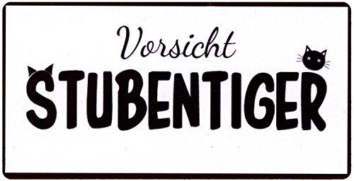 La Finesse Schild Magnet - Vorsicht Stubentiger ! Blechschild 10 cm Katze Kater Vintage Kühlschrankmagnet