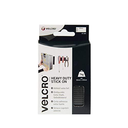 VELCRO Brand Cinta adhesiva extra fuerte 50mm x 100mm x 2 Negro