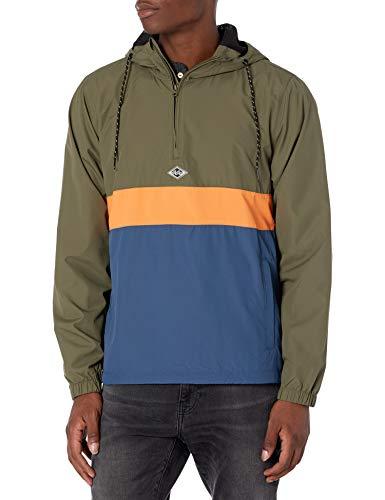 Billabong Men's Wind Swell Pullover Anorak Windbreaker Jacket, Military, L