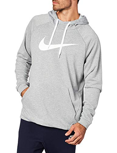 Nike Herren Dry Hoodie Pull Over Swoosh Kapuzenpullover, Grau (Dark Grey Heather/White) , L