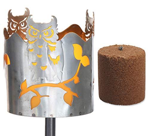Novaliv Gartenfackel Eule Feuerschale Metall mit Stiel und Brennmittel