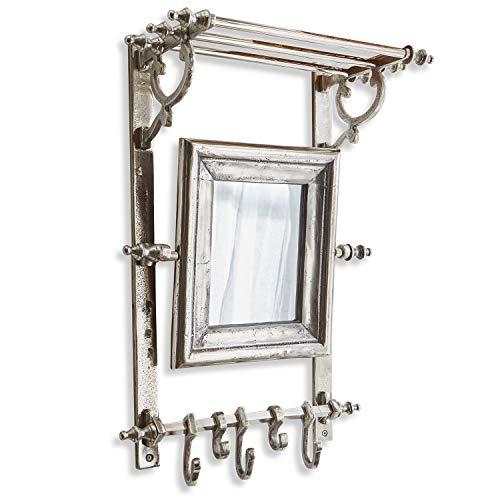 Loberon Garderobe Reboursin, Aluminium/Eisen, H/B/T ca. 60/39 / 22 cm, antiksilber