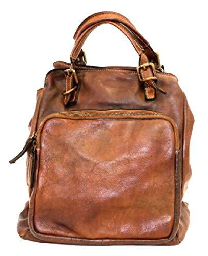 BZNA Bag Rob dunkelbraun Braun Backpacker Designer Rucksack Damenhandtasche Schultertasche Leder Nappa sheep ItalyNeu