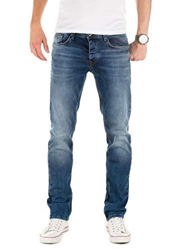 WOTEGA Herren Jeans Alistar Slim fit - Denim Hose Männer Jeanshose Stretch - Used Look, Blau (Ensign Blue 194026), W33/L30