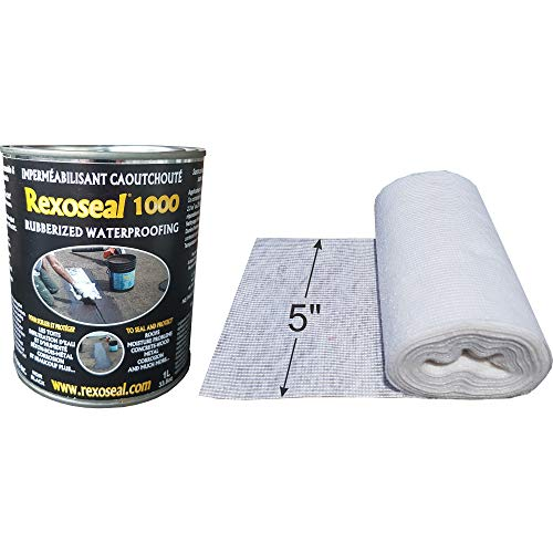 Rexoseal 1000 Waterproofing Sealant - Multi-Purpose Indoor & Outdoor Coating Sealant - Foundations & Basements, Flat & Low Slope Roofs, Concrete, Wood & Metal - Black, 1 Quart