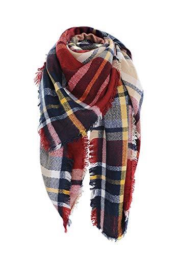 POSESHE Stylish Warm Blanket Scarf Gorgeous Wrap Shawl,D wine Red,One Size