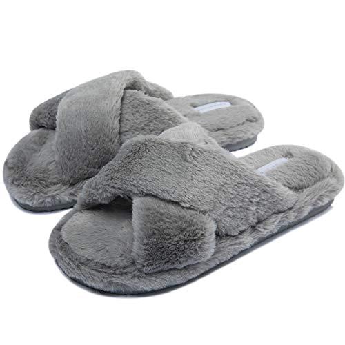 Damen Fell Hausschuhe Warm Memory Foam Hausschuhe Offen Modische Hausschuhe Winter rutschfeste Haus Hauslatschen für Drinnen und Draussen Grau 39