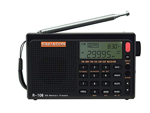 SIHUADON R-108 FM Stereo LW MW SW AIR Band DSP Full Band Portable Radio with Headphones Jack and Antenna Jack, Sleep Timer and Alarm Clock, 500 Memories preset Stations(Black)