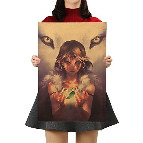 Miyazaki Hayao Prinzessin Mononoke Kraftpapier Poster Anime Movie Wandaufkleber Bar Cafe Dekorative Malerei 50,5x35 Cm