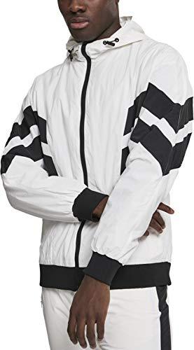 Urban Classics Herren Jacke Crinkle Panel Track Jacket Wht/Blk Größe: M