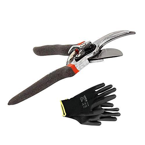 Tijeras de podar. Tijera de jardín universal (longitud 205 mm) en acero antiadherente | tijeras de jardinería + guantes de trabajo de nailon negro YATO talla 9