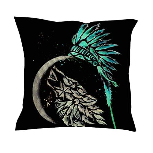 AlineAline Funda de cojín con estampado de plumas de lobo étnico de acuarela, diseño de bandera de lobo indio tribal, decoración cuadrada, 45,7 x 45,7 cm
