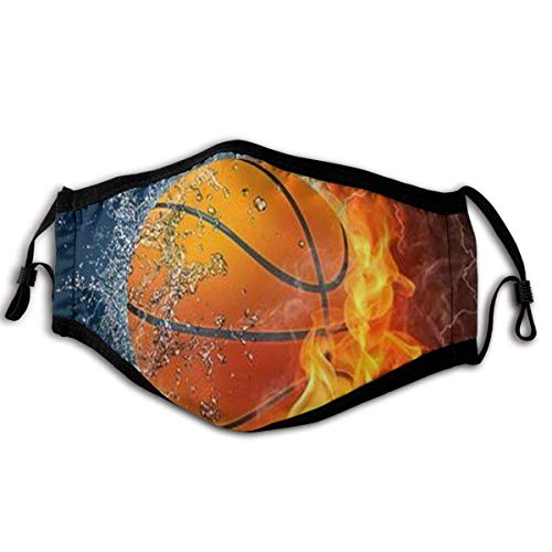 Mundschutz Face Cover Basketball Ball Fire Water Raster Reusable Face Balaclava Washable Outdoor Nose Mouth Cover Fashion for Unisex Men Women