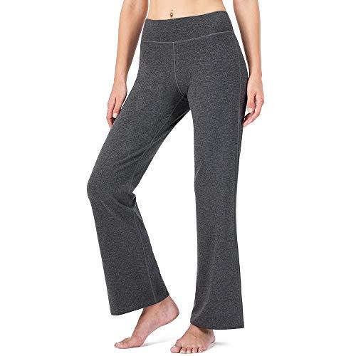 NAVISKIN Pantalones de Yoga para Mujer Pants de Pilates Bolsillos Elástico Transpirable Ideal para Danza Correr Trotar Ejercicio Aeróbico Pilates Fitness Gris Inseam-35in M