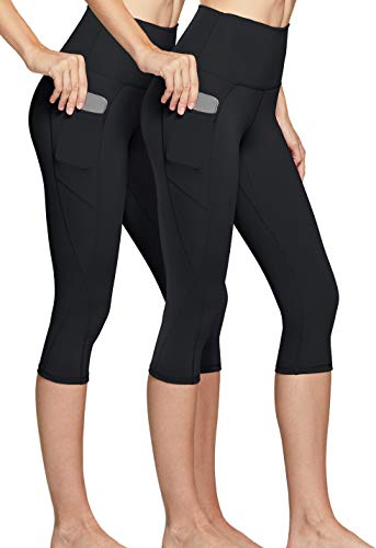 TSLA Yoga Pants (Pack of 2) 17 Inches Capri High Waist Tummy Control w Side Pocket FAC20-KBK_Large by Tesla