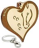 LIKY® Cabeza de Caballo en el corazón - Llavero Original de Madera Grabado Regalo Mujer Hombre cumpleaños pasatiempo joyería Colgante Bolso Mochila