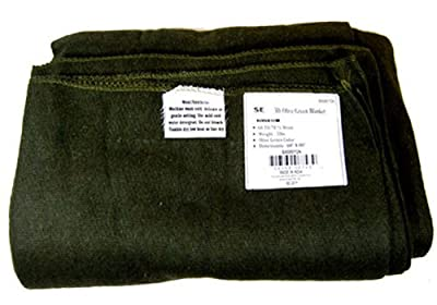 "SE Olive Green 60"" x 80"" 3 lb. Wool Blanket with 60-70% Wool - BI60801GN"