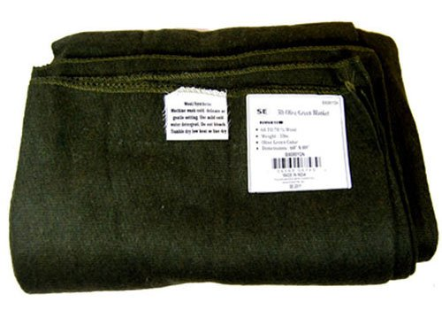 SE Olive Green 60' x 80' 3 lb. Wool Blanket with 60-70% Wool...