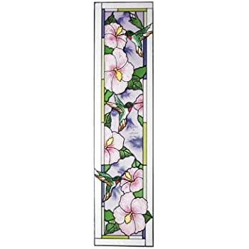 Pink Flowers With Inscription Painted Glass Panel Rs-149